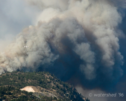 black billowing clouds of forest fire smoke dwarf a large airplane flying by